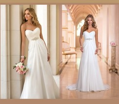 Classic Custom Lace Up Back Strapless Empire Beaded Princess Satin Wedding Gown  image 2