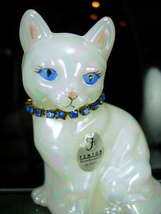 Fenton Cat Figurine Yellow Eyes Rhinestone collar T Gaskins October Birt... - $40.00