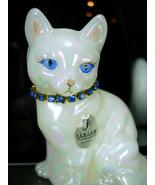 Fenton Cat Figurine Yellow Eyes Rhinestone collar T Gaskins October Birt... - $40.00