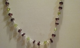 Genuine Natural Garnet & Peridot Gemstone Mix Beaded Necklace SALE SPECI... - $13.99