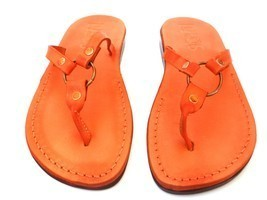 New Handmade Leather Sandals SATURN Womens Shoes Slippers Flip Flops Tho... - $45.93 CAD