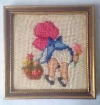 Garden Bloomers Framed Crewel Needlepoint of Gi... - $19.74