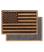 American Flag Embroidered Tactical Patch Tan Brown w/ VELCRO Brand Fastener - $3.99