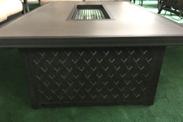 Propane fire pit table coffee height rectangular outdoor cast aluminum patio image 5