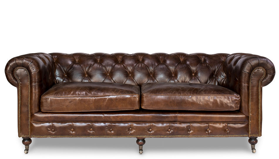 Chesterfield Top Grain Cigar Brown Distressed Leather Button Tufted Sofa Sofas Loveseats