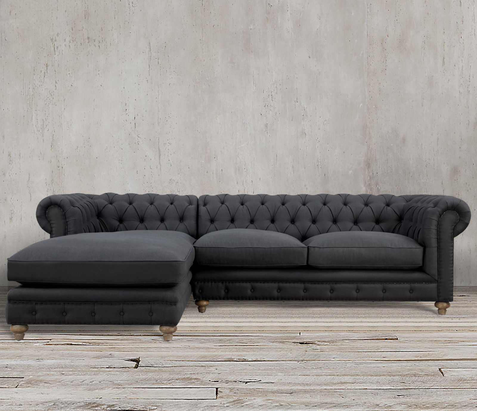 Chesterfield Sectional Sofa Tufted Chaise Tuxedo Gray Linen Couch Nail Head LAF Sofas