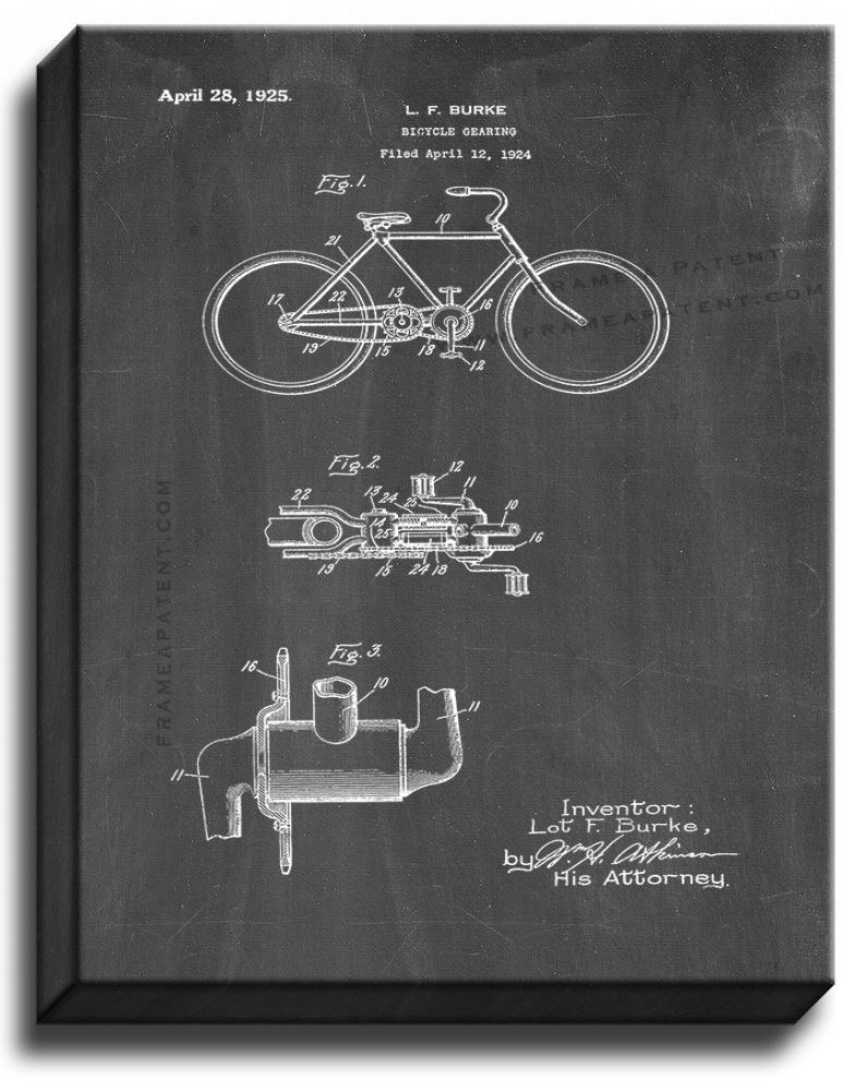 Primary image for Bicycle Gearing Patent Print Chalkboard on Canvas