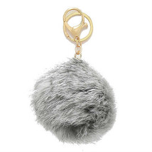 Mini Grey & Gold Rabbit Fur Pom Pom Key Chain /... - $10.50