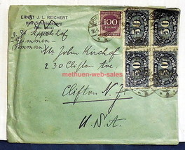 German Envelope~Germany to NJ~1923~5 Stamps~50 X 4 & 100 Mark~ - $10.00