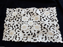 Handmade Ecru Embroidery Cutout work floral lace 18 x 11.25 Table Linen ... - $38.61