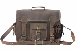 "15"" Mens Vintage Brown Leather satchel Messenger Bag Shoulder Laptop cro... - $53.80"