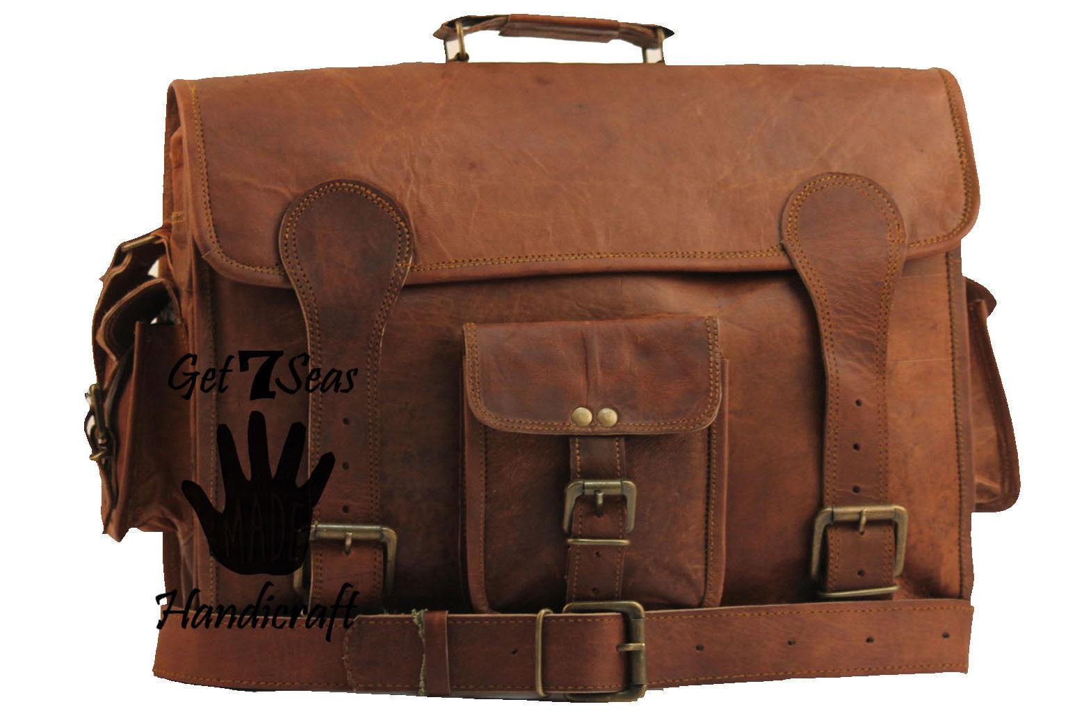 """16"""" Mens Vintage Brown Leather satchel Messenger Bag Shoulder Laptop Briefcase"""