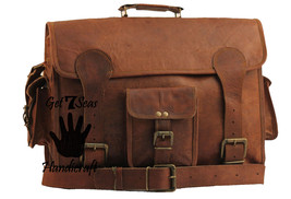 "16"" Mens Vintage Brown Leather satchel Messenger Bag Shoulder Laptop Bri... - $39.62"