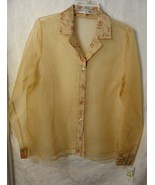 Rafael Women's Silk Sheer Gold Embroidery Long Sleeved Blouse Sz 10 NWT - $19.98