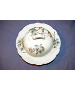Carlsbad Austria Blue Flower Round Domed Butter Dish With Lid - $37.79