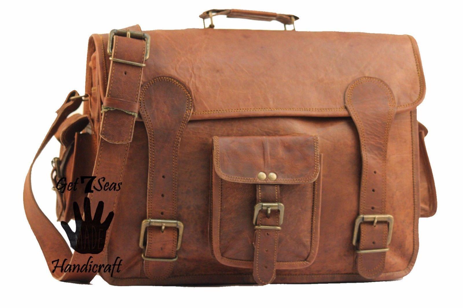 """16"""" Mens Vintage Brown Leather satchel Messenger Bag Shoulder Laptop Briefcase image 2"""