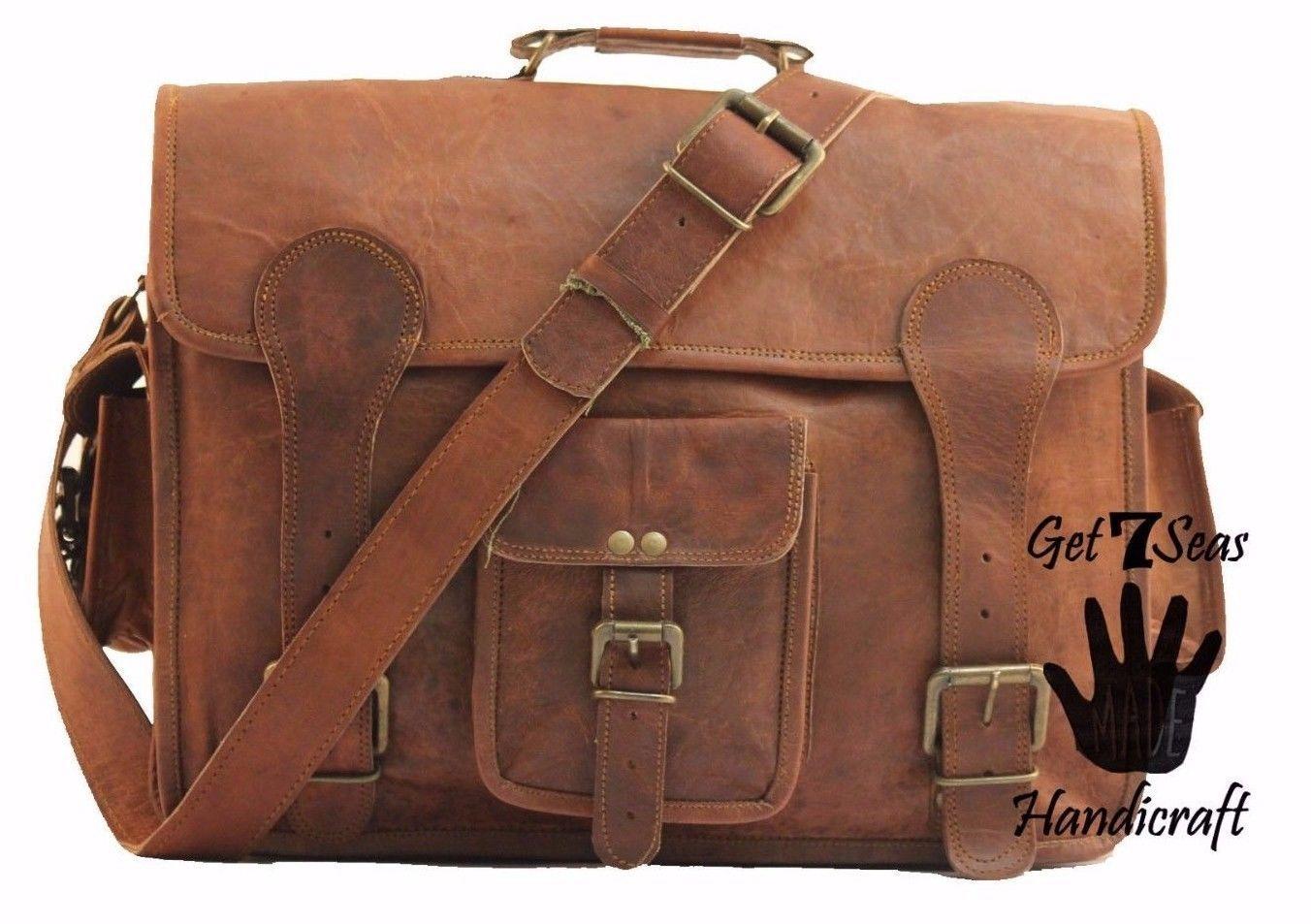 """16"""" Mens Vintage Brown Leather satchel Messenger Bag Shoulder Laptop Briefcase image 4"""