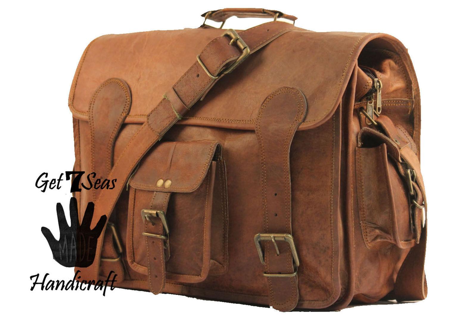 """16"""" Mens Vintage Brown Leather satchel Messenger Bag Shoulder Laptop Briefcase image 3"""