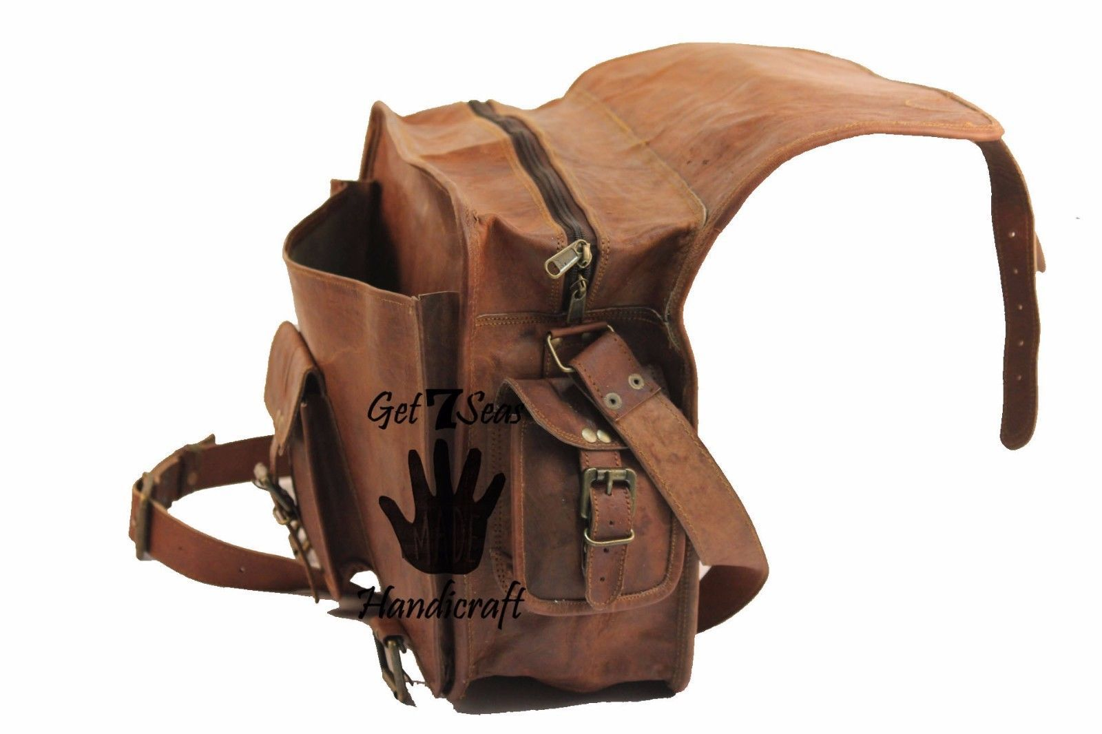 """16"""" Mens Vintage Brown Leather satchel Messenger Bag Shoulder Laptop Briefcase image 7"""