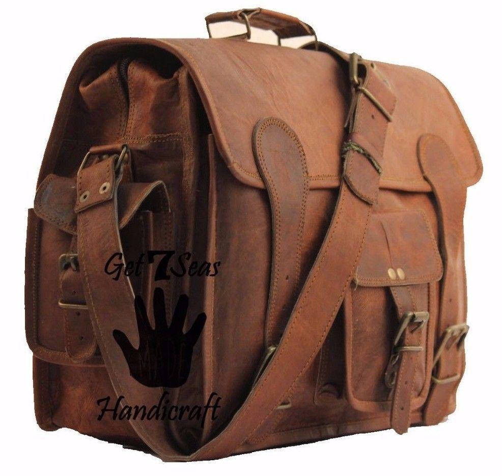 """16"""" Mens Vintage Brown Leather satchel Messenger Bag Shoulder Laptop Briefcase image 5"""