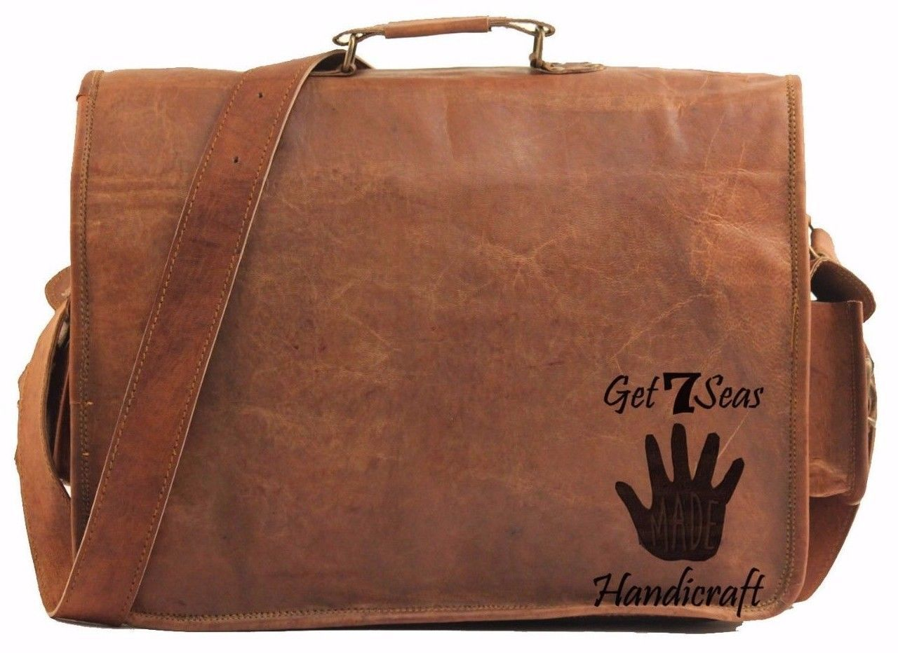 """16"""" Mens Vintage Brown Leather satchel Messenger Bag Shoulder Laptop Briefcase image 6"""