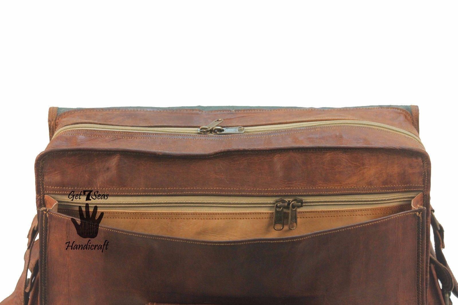 """16"""" Mens Vintage Brown Leather satchel Messenger Bag Shoulder Laptop Briefcase image 8"""