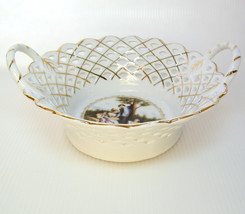Porcelain LATTICE DISH Victorian Country Scene,... - $10.00