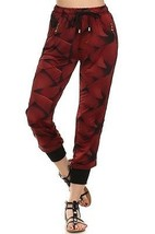 Women's Yelete Red Abstract Print Jogger Pants with Pockets USA SELLER - $12.95