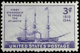 1944 3c First Steamship to Cross the Atlantic, Savannah Scott 923 Mint F... - $0.99