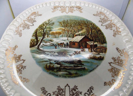 Vintage Gray-Lure by Crooksville USA/Currier & Ives A Home in the Wilde... - $11.95