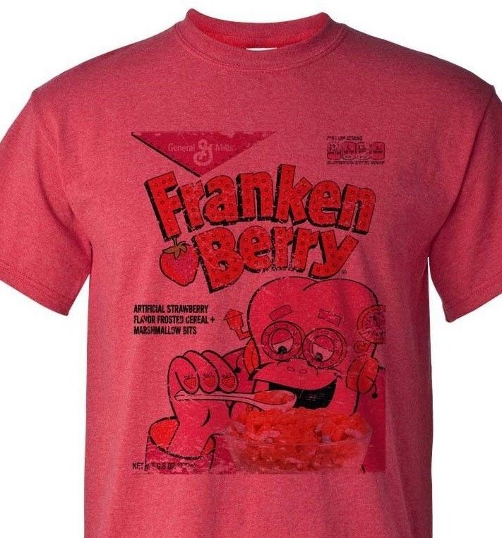 FrankenBerry box T-shirt Heather Red Monster Cereal Boo-Berry Chocula 50/50 tee