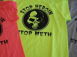 anti=heroin Shirt - Anti Drug Tee - Unisex-50/50 cotton poyester size 2x  - $26.31 CAD