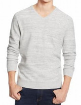 Alfani Men's Heather Vanilla Gray Ribbed Knit V-Neck Pullover Knit Sweater - $25.99