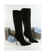 Roger Vivier Black Suede Patent Leather Tall Boots Size 38 8 NIB $1875 - $687.56