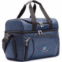 Large Dual Compartments Insulated Soft Cooler Bag Lunch Bag and Box Blue - $49.99