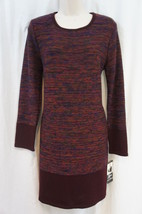 Lennie For Nina Leonard Sweater Dress Sz L Red Wine Combo Casual Dress - $49.44