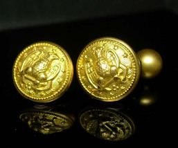 1800's Antique Navy Cuff links vintage gold eagle  Cufflinks gold poseidon ancho - $225.00