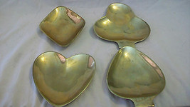 BRASS SET OF FOUR PLAYING CARD SYMBOLS TRAYS - $24.74