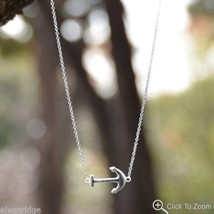 """16"""" + 2"""" Rhodium Plated Sideways Anchor Necklace Sterling Silver"""