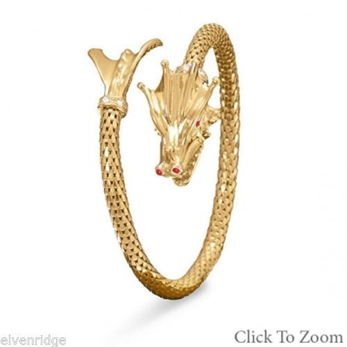 14 Karat Gold Plated Dragon Wrap Bangle Sterling Silver