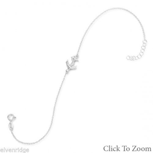 "11"" + 1"" Sideways Anchor Anklet Sterling Silver"