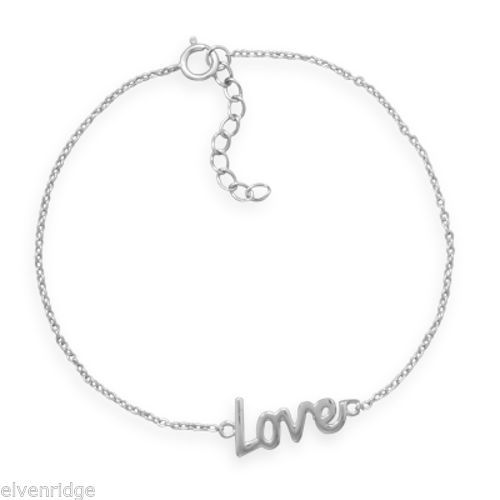 "7"" + 1"" Rhodium Plated ""Love"" Bracelet Sterling Silver"
