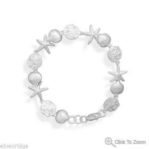 "7.25"" Small Sea Shore Bracelet Sterling Silver"