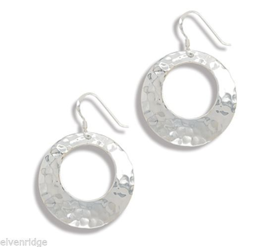 Cut Out Hammered Earrings on French Wire Sterling Silver