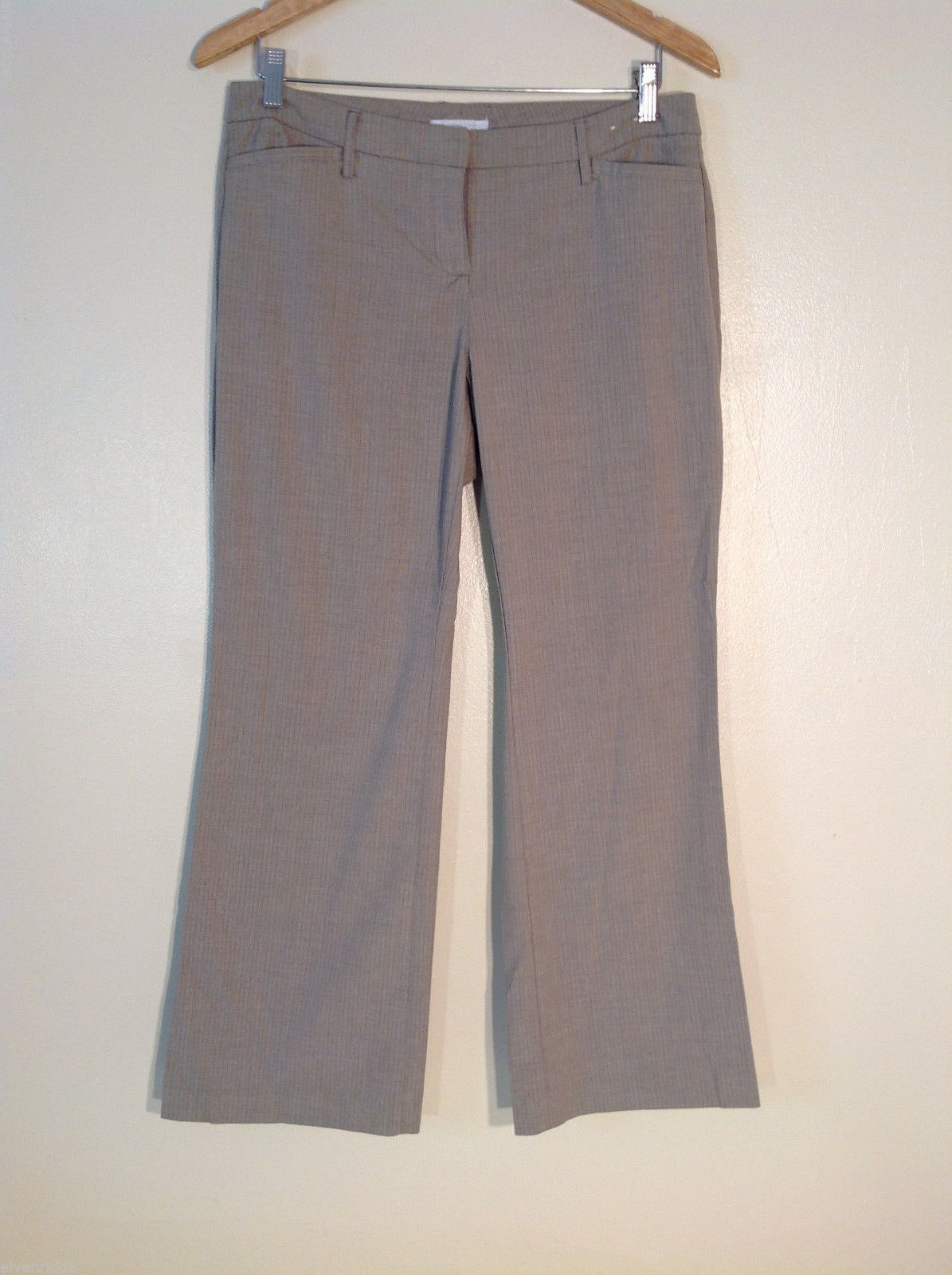 New York & Company Women's Petite Size 8 Pants Brown w/ Pinstripes Work Office