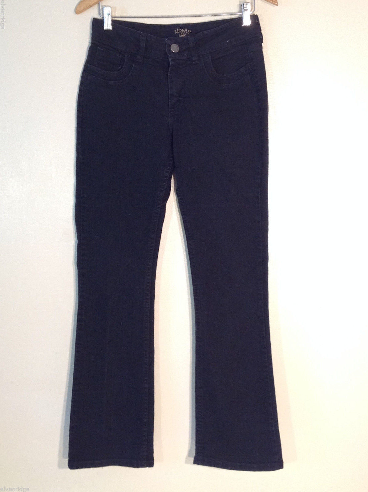 "Lee Riders Women's Size 6 M Denim Jeans Black Stretchy Boot Cut 32"" Tall Inseam"