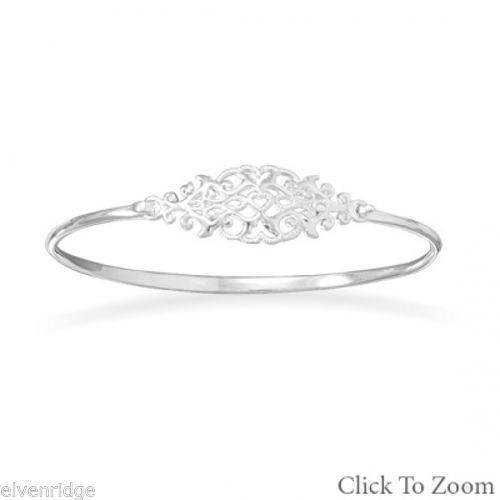 Ornate Cut Out Design Bangle Sterling Silver