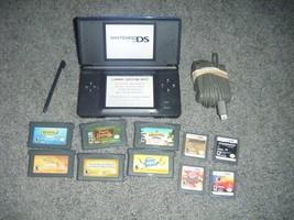 Nintendo DS Lite COBALT BLUE BLACK Handheld System Console and Lot 10 G... - $64.49