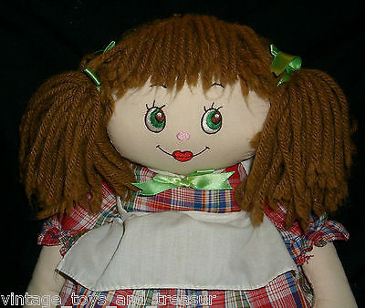 """16"""" VINTAGE 1989 COMMONWEALTH DOLL STUFFED ANIMAL PLUSH BROWN HAIR RED DRESS TOY"""