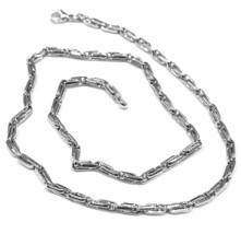18K WHITE GOLD CHAIN ALTERNATE OVALS 4 MM, 24 INCHES, SQUARED TUBE NECKLACE image 1